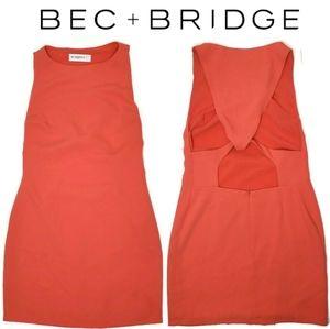 Bec+Bridge sleeveless coral open back dress size 2